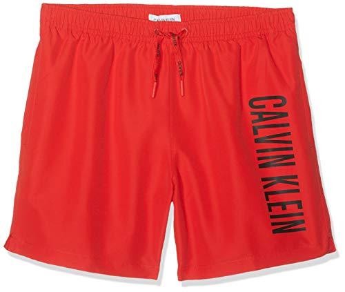 Calvin Klein Jungen Badehose Medium Drawstring, Rot (Flame Scarlet 655), 8-10