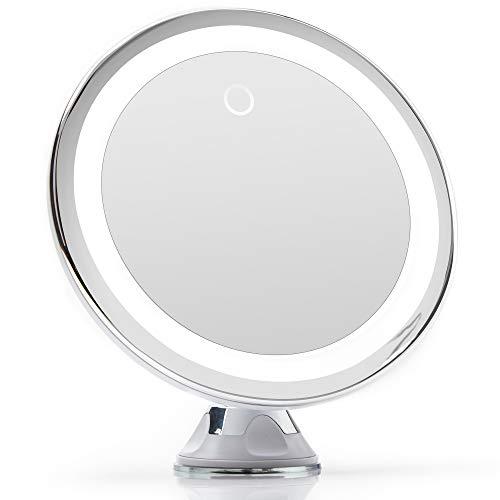 Fancii Kosmetikspiegel mit Dimmbares LED Licht, 10-facher Vergrößerung, USB oder Batterie, Starker Saugnapf, 20 cm Breit Make-Up Vergrößerungsspiegel mit Blendfreier Beleuchtung (Silber)