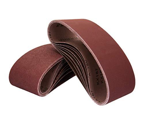 POWERTEC 110820 3 x 18 Inch Sanding Belts | 100 Grit Aluminum Oxide Sanding Belt | Premium Sandpaper for Portable Belt Sander – 10 Pack