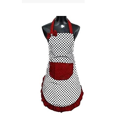 FIJTPSAN Delantales Bib Delantal Vestido Cocina Vintage Mujer Bowknot con Regalo de Bolsillo Lindo 1pcs Delantales