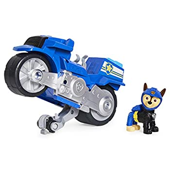 Paw Patrol Moto Pups Chase's Deluxe Pull Back Motorcycle Vehicle with Wheelie Feature and Toy Figure