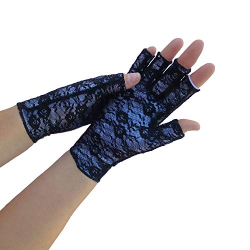 Classy Pal Arthritis Compression Gloves for Women & Men, Typing Computer Gloves for Hands Pain Relief from Rheumatoid, Raynauds & Carpal Tunnel, Fingerless, Comfy, Breathable, Sweat Wicking (Lace, S)