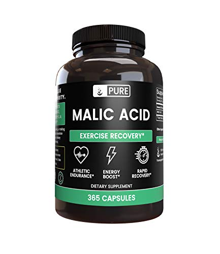 Pure Malic Acid (365 Capsules) Hydroxy Acid for Energy & Muscle Recovery* (600 mg Serving)