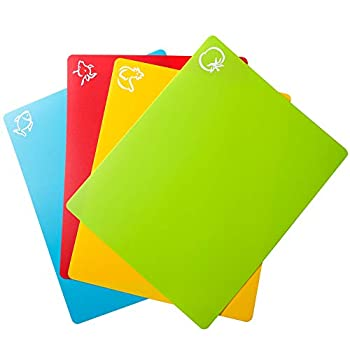 Carrollar Flexible Plastic Cutting Board Mats Colored Mats With Food Icons Gripped Back Cutting board Set of 4