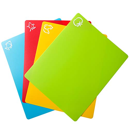 Carrollar Flexible Plastic Cutting Board Mats, Colored Mats With Food Icons, Gripped Back, Cutting board Set of 4