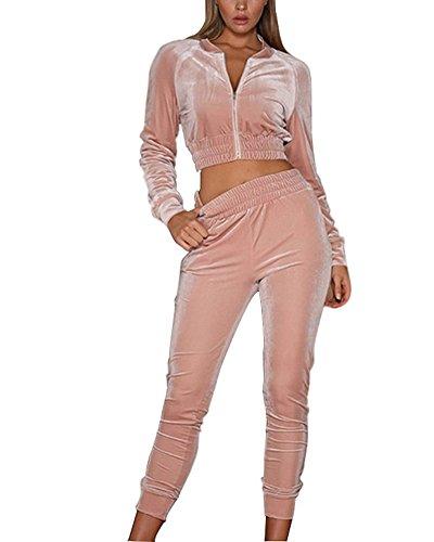 Minetom Damen Samt Sportanzüge Jogginganzug Kapuzenjacke Kapuzenpullover Sexy Reißverschluss Jacke Mantel Beiläufig Velours Hose 2 Stück Rosa DE 38