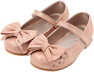Ozkiz Little Girls Dress Mary Jane Flats Leather Shoes With Ribbon PK 9M [並行輸入品]