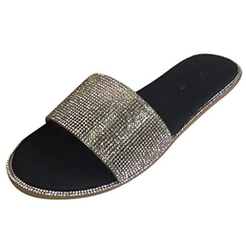 Xmiral Sandalen Damen Römischen Stil Glänzende Strasssteine Große Flache Sandalen Und Hausschuhe(40,Schwarz)
