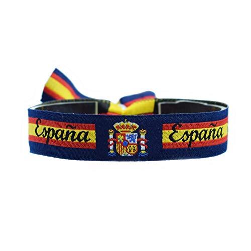 BDM Pulsera de la Bandera de España con el Escudo Nacional y Fondo en Azul Marino con Cierre Ajustable. Regalo Unisex para Hombre o Mujer