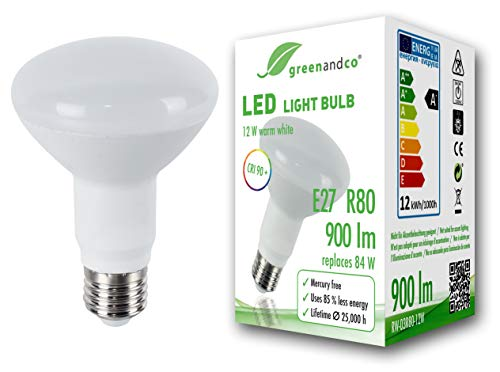 Bombilla LED greenandco IRC 90+ E27 R80 12W (corresponde a 84W) opaca 900lm 3000K (blanco cálido) 160° 230V AC, sin parpadeo, no regulable