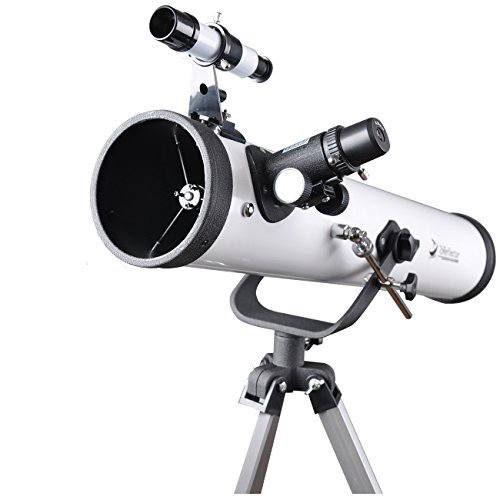 76mm AZ Telescope Moon Observing Reflector Telescope with Tripod and 1.25 Inch 10mm Eyepiece Smartphone Adapter - Get Started with Astronomy
