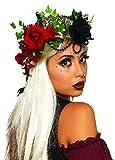 shoperama Corona de flores de adivinación, color negro y rojo, con rosas, princesa Fantasy Reina