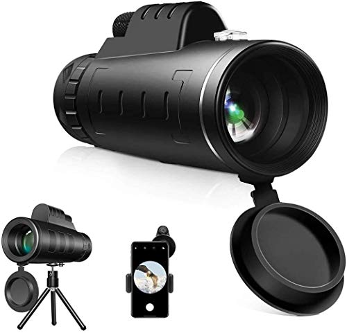 YAKUSA Monocular Telescope, 40X60 High Power HD Monocular with Smartphone Holder & Tripod - Waterproof Monocular with Durable and Clear FMC BAK4 Prism Dual Focus for Bird Watching, Camping,Hiking
