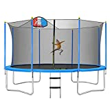 Merax 14 FT Trampoline with Safety Enclosure Net, Basketball Hoop and Ladder, Trampoline for Kids (Blue)