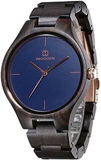 Reloj analógico de madera de ébano, reloj de pulsera de cuarzo para hombres, reloj vintage hecho a mano de la marca Iwooden