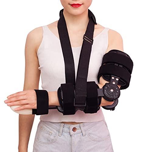 Zyxdk ROM con Bisagras Codo Ortopédico, Ajustable Férula de Soporte de Brazo con Apoyabrazos para Recuperación de Lesiones, Alivio del Dolor Hombres Mujeres Mano Derecha Izquierda
