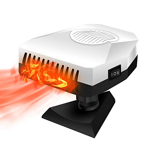 Portable Car Heater Fan 150W 12V 360 Degree Rotate Adjustable Windshield Defroster, Auto Electronic Fast Heating Defrost, Heater Cigarette Lighter for Car Home Office Table