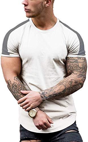 Coshow Camiseta de fitness para hombre, camiseta de culturismo, camiseta de entrenamiento, informal, ajustada, a rayas, manga corta, Hombre, Blanco, medium