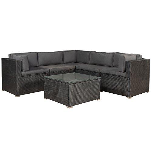 ArtLife Polyrattan Lounge Nassau schwarz | Gartenmöbel Set mit Ecksofa & Tisch | Bezüge in Grau | Sitzgruppe für Terrasse | Loungemöbel Gartenlounge