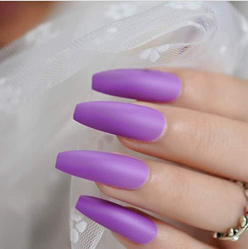 Valse nagels, nep nagels, natuurlijke parel elegante touch Franse Manicure, 24 Stks zacht roze paars paars mat Ballerina Valse nagels, extra lange mat plat pers op salon partij 3