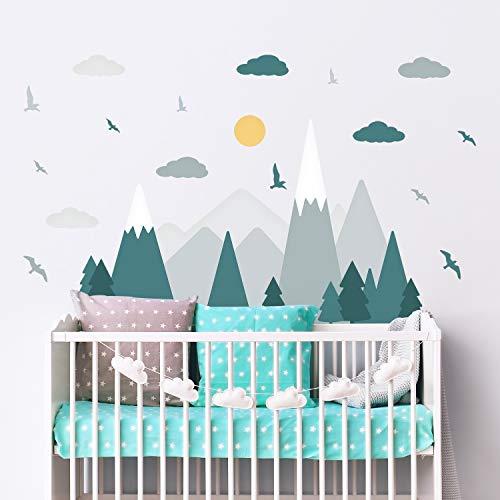 WALPLUS Bunte Berge Landschaft skandinavischer Stil Kinder Wandsticker Berge Decals Kinderzimmer Babyzimmer Wald Abenteuer Wanddeko