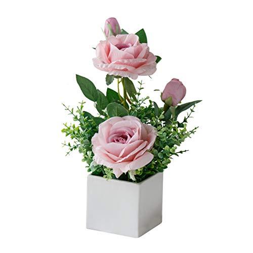 Geoyien Künstliche Blumen mit Vase, Künstliche Blumen Deko,Künstliche Blumenpflanzen, Exquisite künstliche Rose Blumenstrauß im Topf für Hochzeitsfeier Büro Tisch Schlafzimmer Küche Dekoration (Pink)