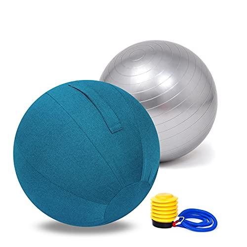 ERWUDEling Gymnastikball, Pilates Ball, Sitzball Büro - 55cm / 65cm / 95cm Geburtsball für Schwangerschaft, Balance, Yoga & Fitness. Berstsicher Mit Widerstandsbänder, Stabilitätsbasis,Blau,55cm