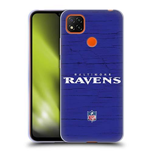 Head Case Designs Oficial NFL Aspecto Angustiado Logotipo de Baltimore Ravens Carcasa de Gel de Silicona Compatible con Xiaomi Redmi 9C