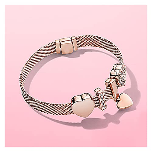 Pulsera S925 Silver Rose Gold Heart Studded Bracelet Love Walentín S Day Regalo 21 cm Pulsera de Amistad Zzib (Color : 20cm)