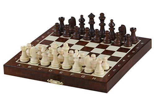 KADAX magnetisches Schachspiel mit Figuren aus Holz, Elegante Schachkassette, kompakte Grösse, Geschenk für Kinder, enthalten Magnete und Filzeinsatz, Schachbrett (20 x 20 cm)