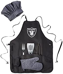PICNIC TIME NFL Oakland Raiders BBQ Apron Tote Pro with Tools , Black by Picnic Time