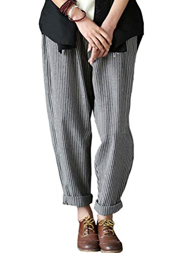Mordenmiss Women's Casual Linen Pants Striped Elastic Waist Harem Pants with Pockets (X-Large, Style 2-Gray)