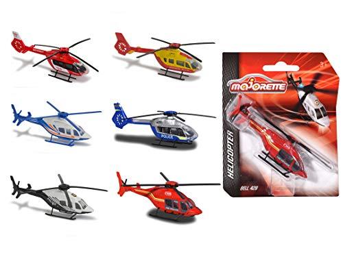 Majorette 212057520 Helikopter Bell 429, Die-Cast-Hubschrauber, Notarzt, Feuerwehr, Polizei, Luftrettung, 6 versch. Modelle, Lieferung: 1 Stück, zufällige Auswahl, 13 cm lang