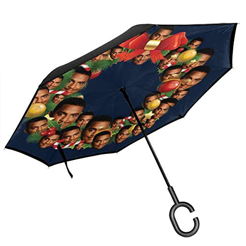 Christmas Multi Wreath Carlton Banks Fresh Prince Double Layer Inverted Umbrella for Car Reverse Folding Upside Down C-Shaped Hands - Lightweight & Windproof – Ideal Gift