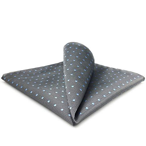 Shlax&Wing Gris Azul Puntos Pañuelo De Bolsillo Para Hombre Seda Grande Para Hombre For Traje de negocios