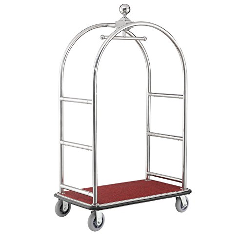 Silver Stainless Steel Bellman Cart Curved Uprights 6' Rubber Casters, 41-1/4'L x 24'W x 73'H