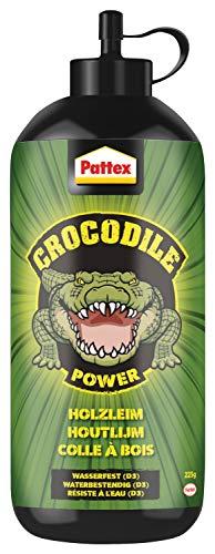 Pattex Crocodile Power Holzleim, leistungsstarker Holzkleber für Innen und Außen*, transparent trocknender und wasserfester Leim, 1 x 225g