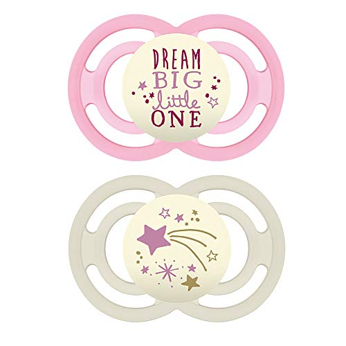 MAM Perfect Night Pacifiers, Glow in the Dark Pacifiers (2 pack, 1 Sterilizing Pacifier Case) MAM Pacifiers 6 Plus Months for Baby Girl, Baby Pacifiers, Designs May Vary