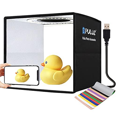 """PULUZ 9.8""""/25CM foto caja de luz fotografía brillo portátil regulable plegable multi-ángulo tiro para fotografía pequeños productos, con 96pcs luz LED y 6 fondos de color de doble cara"""