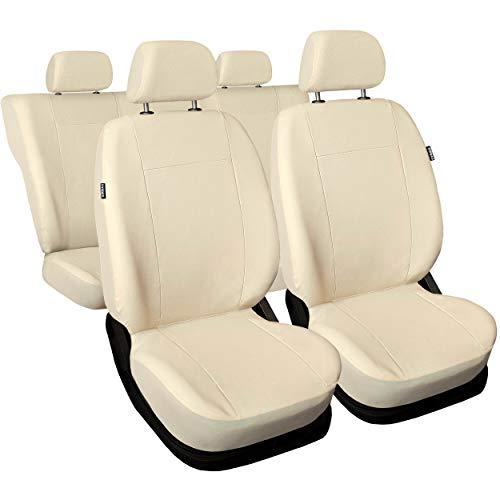 saferide | Universal Beige kunstlederen stoelhoezen complete set stoelhoezen voor auto stoelbeschermer set beschermhoezen autostoel autostoelhoezen stoelhoezen autostoelbeschermers autocomfort