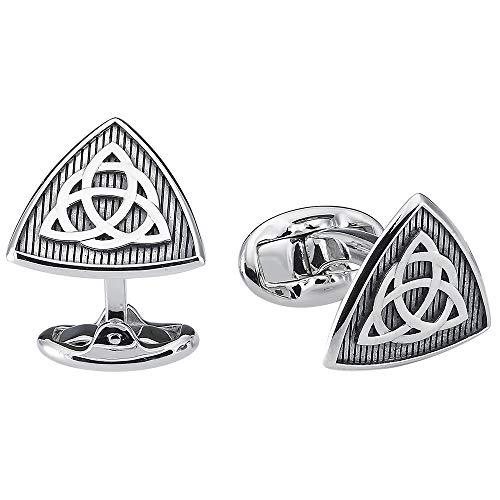 Vinani Design Manschettenknöpfe keltische Symbol Triquetra geschwärzt oxidiert 925 Sterling Silber Herren Anzug Hemd 2MAB
