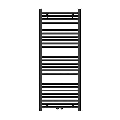 Sogood Radiateur de Salle de Bain Sèche-Serviette 120x50cm Radiateur Tubulaire Vertical Chauffage à Eau Chaude Noir-Gris