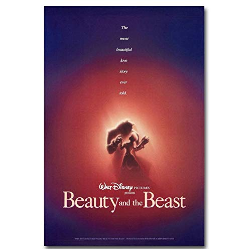 OAQAT Beauty and The Beast 1991 Posters Print On Canvas Room Decor Wall Art Prints Pictures for Living Room Decor -20X28 Inch No Frame 1 Pcs