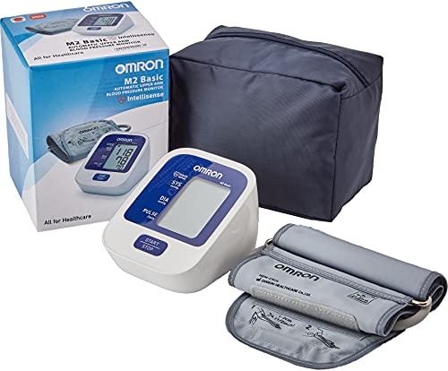 OMRON M2 Basic - Tensiómetro de brazo digital, tecnología Intellisense para dar lecturas de presión arterial rápidas, cómodas y precisas, plateado, unisex