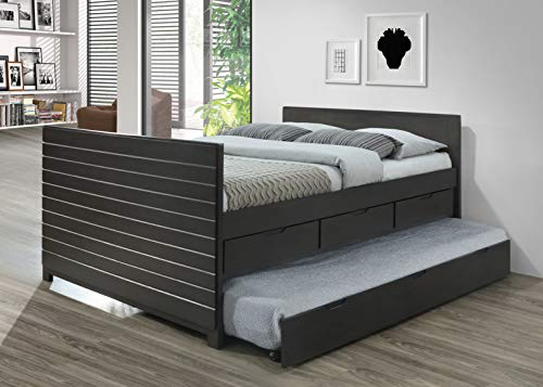 Best Quality Furniture -B Full Captain bed w/Twin Trundle, Gray