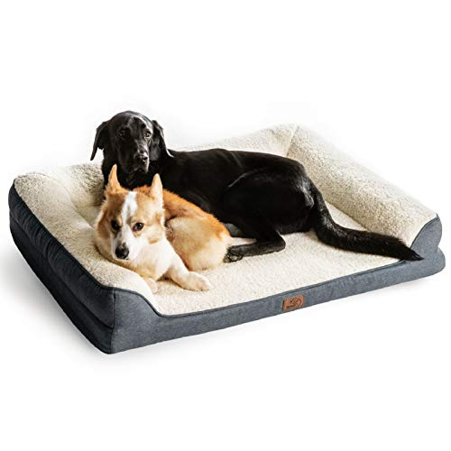 Bedsure Orthopedic Memory Foam Large Dog Bed - Dog Sofa with Removable Washable Cover & Waterproof Liner, 7 inches Height Couch Dog Beds for Large Dogs up to 75 lbs