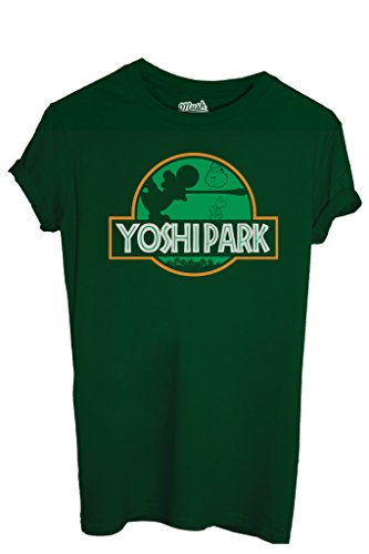 MUSH T-Shirt Yoshi Jurassic Park - Games by Dress Your Style - Uomo-L-Verde Bottiglia