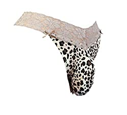 Plus size leopard thongs with pouch in front for sissy men.