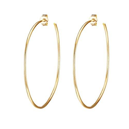 Glanzstücke München Damen-Ohrcreolen Sterling Silber gelbvergoldet - Creole 50 mm gelb-gold Ohr-Schmuck Ohrringe gold