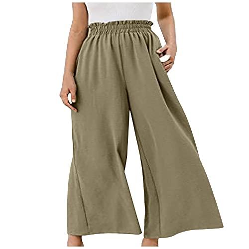 KAYIMGIRE Pantalon Large Femme de Sudation, Ample et Confortable Pantalon Fluide Leger Femmes, Couleur Unie Pantalon Sarouel pour Dames